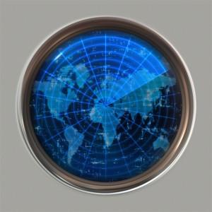 A flat earth world map concept radar
